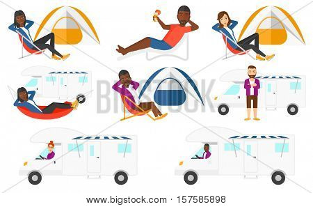Young man driving a motor home. Man lying in hammock in front of motor home. Man with folded arms standing in front of motor home. Set of vector flat design illustrations isolated on white background.