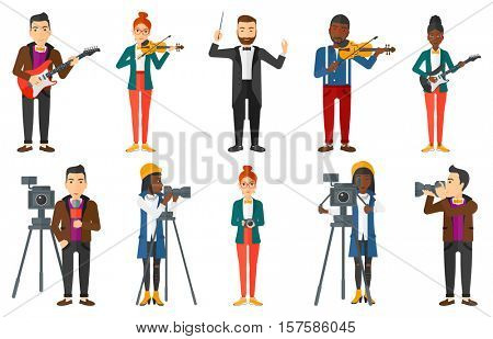 Young smiling musician playing violin. Musician performing with violin. Cheerful violinist playing classical music on violin. Set of vector flat design illustrations isolated on white background.