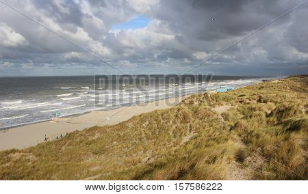 A view of the windswept Belgian coastline near Oostende, on a stormy day in the winter.