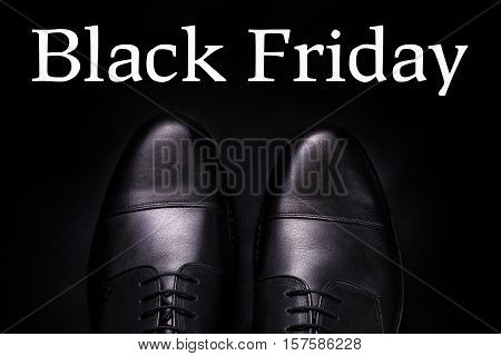 Black Friday.  Oxford Shoes On  Background. Top View.