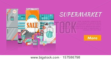 Supermarket sale banner. Household appliances in flat style. For electronics stores advertising. Purchase of equipment for every day use. Devices with red discount tags. Black friday. Vector