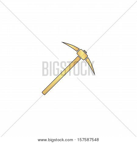 Pickax Gold vector icon with black contour line. Flat computer symbol