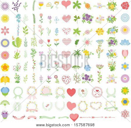 Set of wedding graphic set- wreath, flowers, arrows, hearts, laurel, ribbons and labels