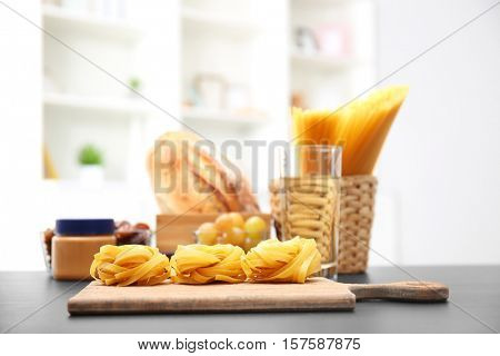 Set of different products on table