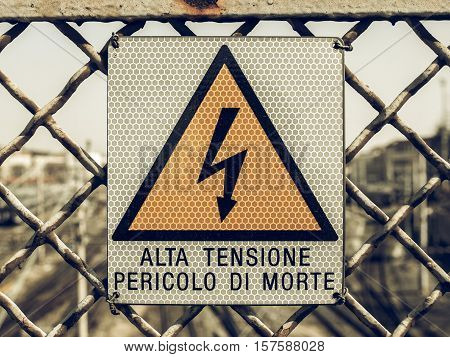Vintage Looking Electric Shock Sign