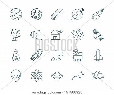 Set of astronomy, science vector icons line style