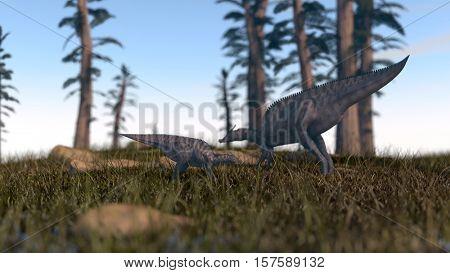 3d illustration of the grazing saurulophus