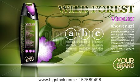 Shower gel natural orchid flower or violet aroma ads template, droplet bottle mock up isolated on dazzling background. Place for brand text. Glamorous fragrance sparkling effects. Vector illustration