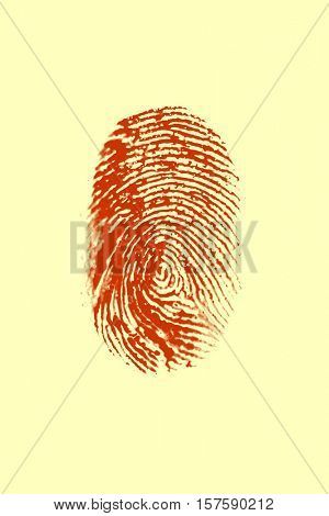 Red Fingerprint on yellow background