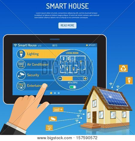 Smart House and internet of things concept Man holding tablet PC similar to ipad horizontal in hand and smart home controls. vector illustration