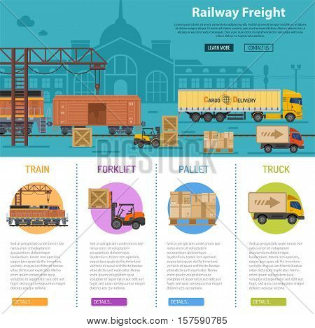 Railway Freight infographics with flat Icons Set like train, delivery, station, truck, rails and forklift. vector illustration