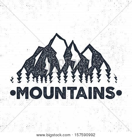 Hand drawn adventure label. Mountains and forest illustration. Typography design with sun bursts. Roughen style. Wanderlust vector tee design, badge and inspirational insignia.