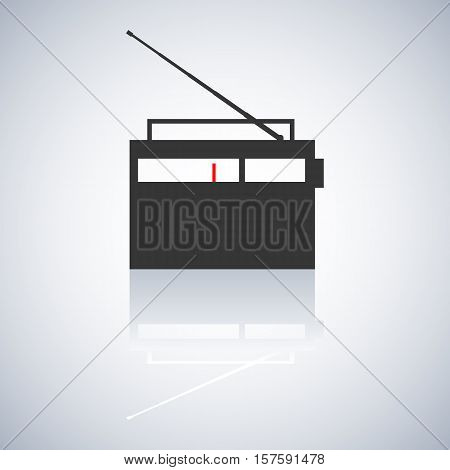Gray icon retro radio with telescopic antenna a mirror reflection digital device design element vector illustration.