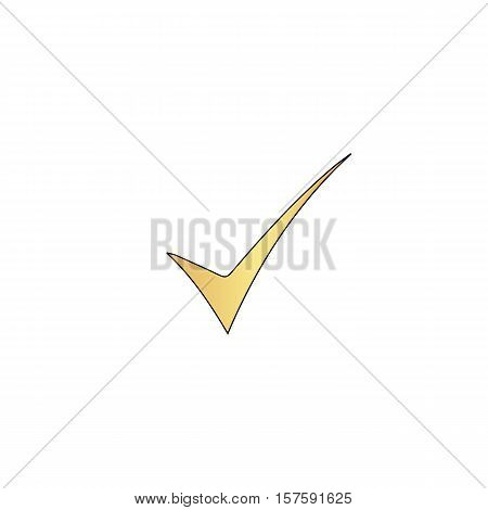 confirm Gold vector icon with black contour line. Flat computer symbol