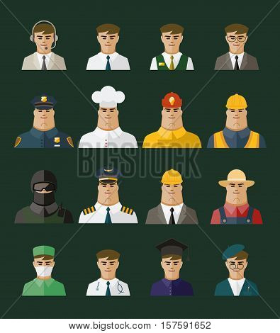 People icon professions icons Occupation set. Vector illustration