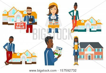 Female real estate agent standing near the house. Real estate agent leaning on the house. Real estate agent offering the house. Set of vector flat design illustrations isolated on white background.
