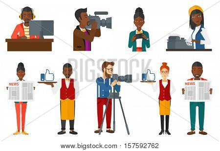 Woman reading a newspaper. Young smiling man reading good news in newspaper. Man with newspaper in hands. Camera operator at work. Set of vector flat design illustrations isolated on white background.