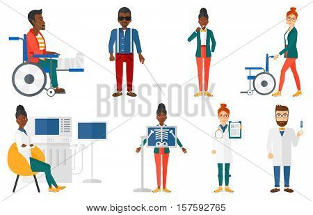 Injured man with broken leg in plaster. Man with broken leg sitting in wheelchair. Man with fractured leg.Woman pushing wheelchair.Set of vector flat design illustrations isolated on white background.