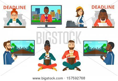Stressed businessman sitting with stacks of papers and having problem with deadline. Deadline concept. Man playing the drum. Set of vector flat design illustrations isolated on white background.
