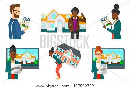 Smiling man using digital tablet to search for house. Young woman searching house on real estate website. House searching concept. Set of vector flat design illustrations isolated on white background.