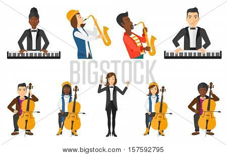 Young musician playing cello. Musician performing with cello. Cellist playing classical music on cello. Man with cello and bow. Set of vector flat design illustrations isolated on white background.