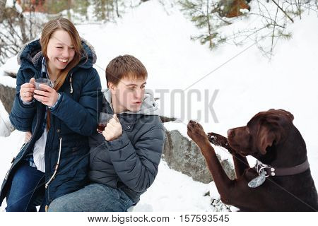 Couple Drinking Hot Drink Outdoors