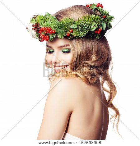 Spa Woman with Healthy Skin Makeup and Floral Green Wreath Isolated on White Background