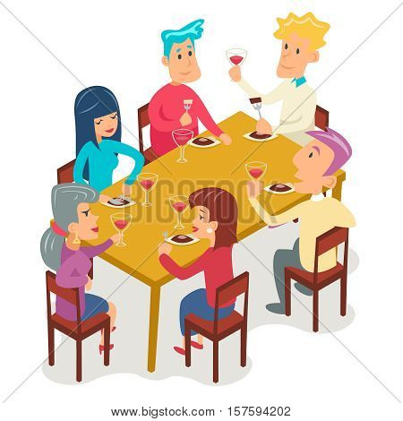 Group Friends Eat Meal Characters Celebration Meating Party Design Vector illustration