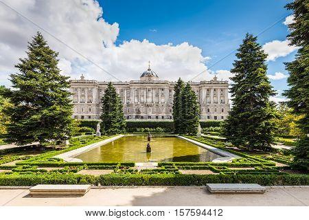 Madrid Spain - May 22 2014: Sabatini Gardens (Jardines de Sabatini) and the Royal Palace (Palacio Real) in Madrid Spain