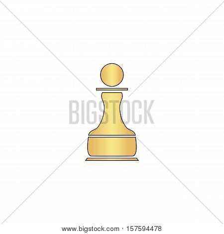 Chess Pawn Gold vector icon with black contour line. Flat computer symbol