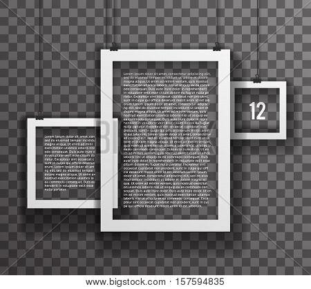 Frames Paper Big Realistic Text Poster Icon Set Template Transperent Background Mock Up Design Vector Illustration
