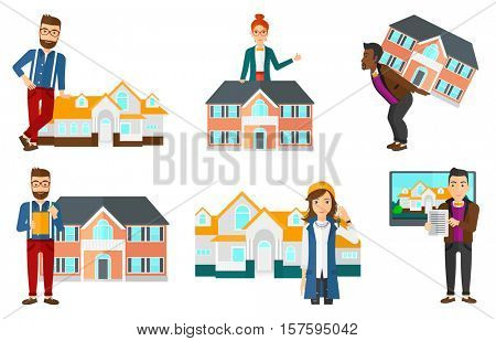 Young real estate agent holding house key. Woman with keys standing in front of the house. New owner of a house with keys in hand. Set of vector flat design illustrations isolated on white background.