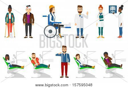 Sad man sitting in dental chair and suffering from toothache. Man having toothache. Man touching his cheek because of toothache. Set of vector flat design illustrations isolated on white background.