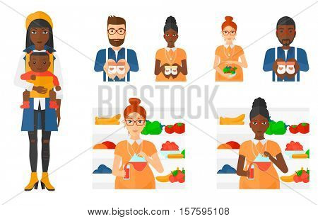 Pregnant woman holding bowl with healthy food. Pregnant woman cooking healthy food. Concept of healthy nutrition during pregnancy. Set of vector flat design illustrations isolated on white background.