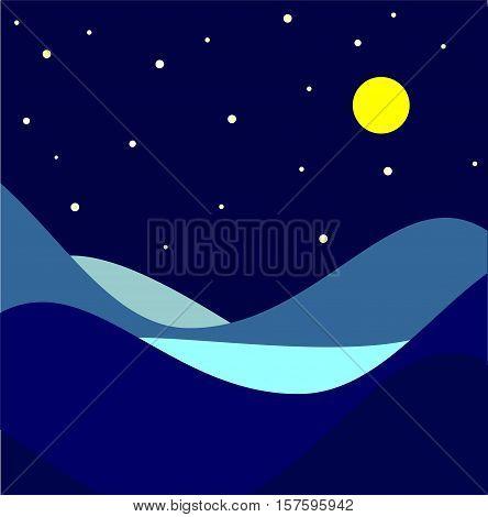 Landscape. Moonlit night. Vector illustration Night background