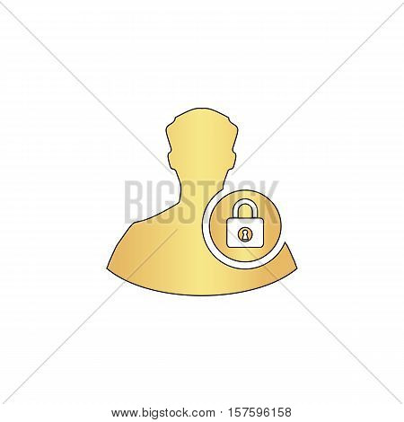 authenticate Gold vector icon with black contour line. Flat computer symbol