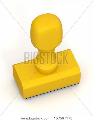 Isolated new yellow plastic rubber stamps on white background. Office mockup. 3D Illustration.