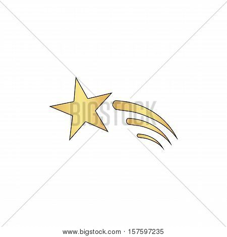 Meteor Gold vector icon with black contour line. Flat computer symbol