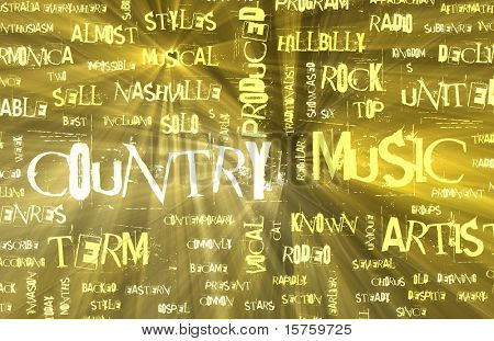 Country Music Genre as a Grunge Background