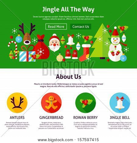 Merry Christmas Web Design. Flat Style Vector Illustration for Website Banner and Landing Page. Jingle All The Way.
