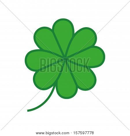 silhouette colorful with clover four leaves vector illustration