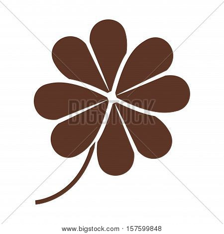 silhouette of clover four leaves in brown color vector illustration