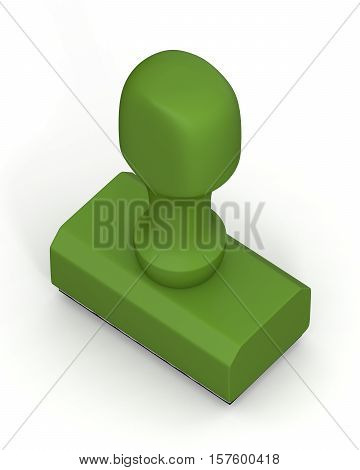 Isolated new green plastic rubber stamps on white background. Office mockup. 3D Illustration.
