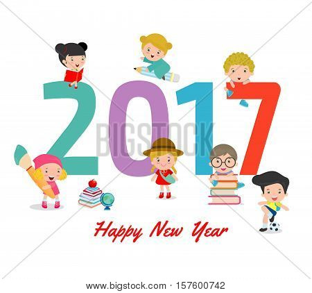Happy New Year 2017 kids background, happy child with Happy new year 2017, Colorful Vector Illustration