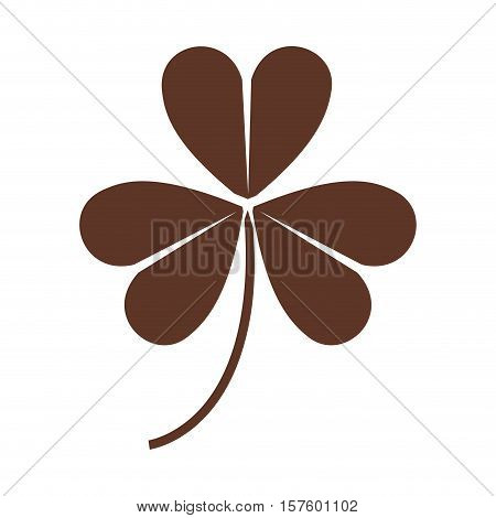 silhouette of clover three leaves in brown color vector illustration