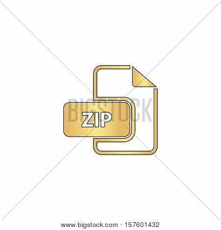 ZIP Gold vector icon with black contour line. Flat computer symbol
