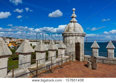 Battlement of Belem Tower - Lisbon Portugal - architecture background