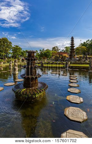 Water Palace Tirta Ganga in Bali Island Indonesia - travel and architecture background