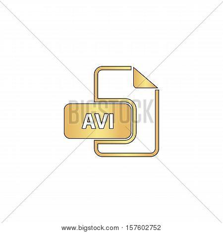 AVI Gold vector icon with black contour line. Flat computer symbol