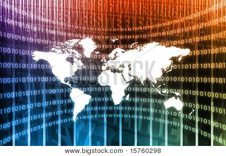 World Communications in Purple with Net Abstract